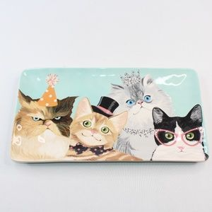 Pier One Imports Party Fancy Cats Kittens Platter